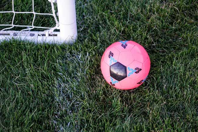 Pink soccer ball on long soccer field grass