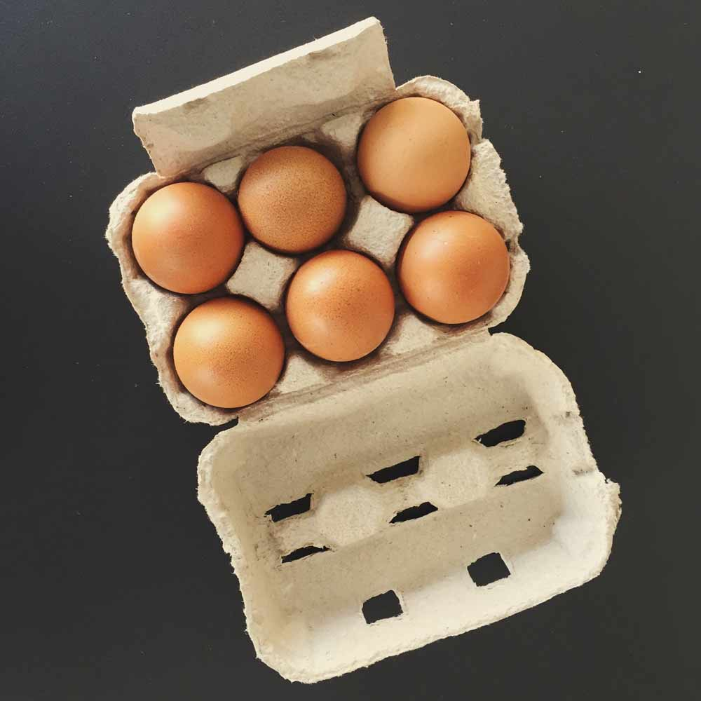 Small carton of 6 chicken eggs