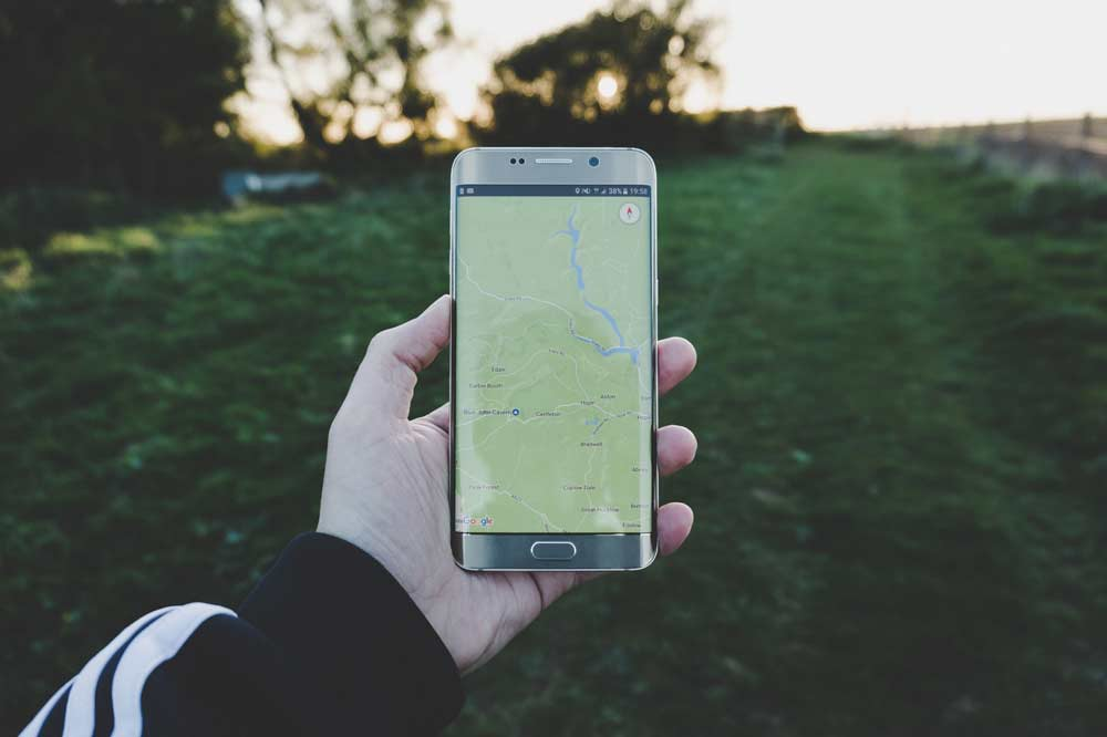 Smartphone with map on screen