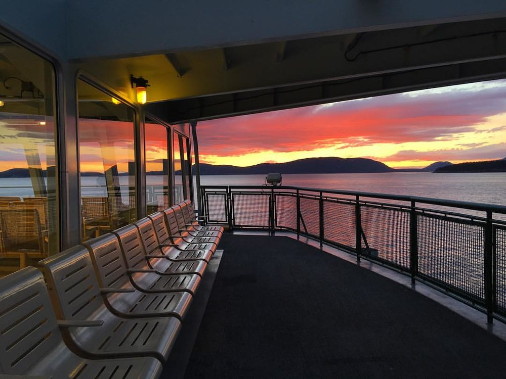 Sunset view on the Washington State Ferry. Photo courtesy of Orcas artist Deborah Hefley Jones.
