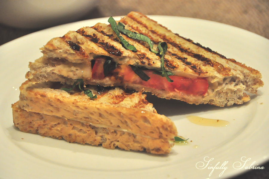 Grilled Cheese and Basil Sandwich with Truffle Honey -