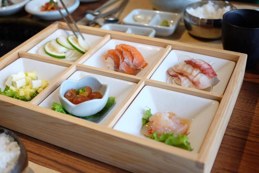 Gobachi - Sashimi and appetizer platter, so pretty!