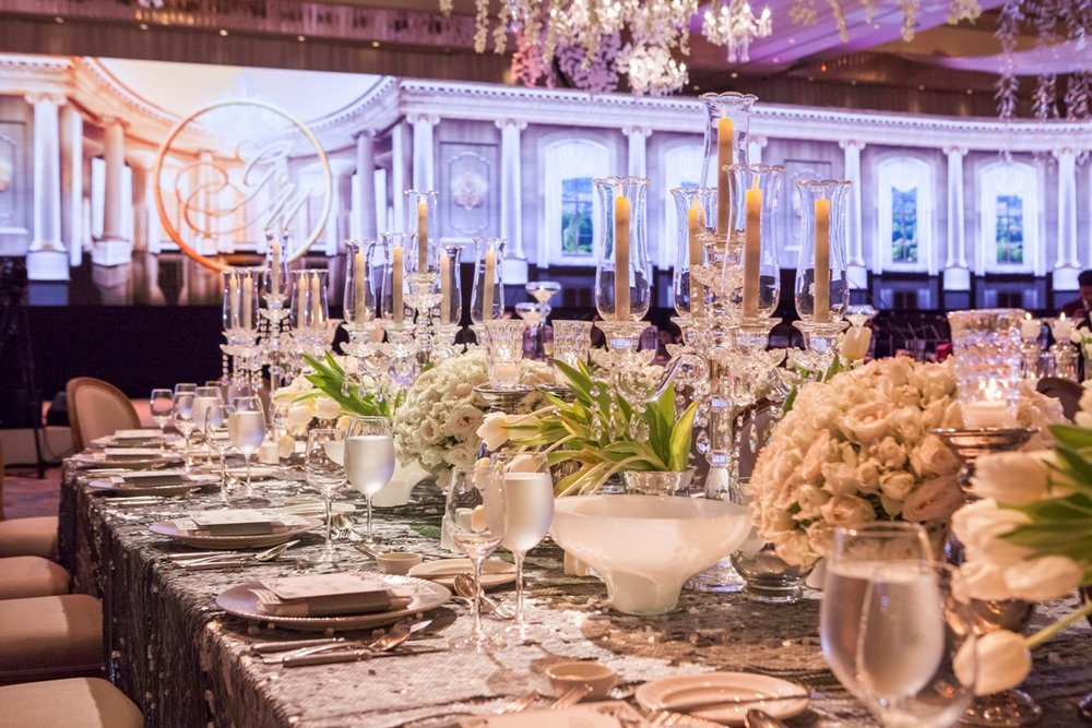 - Real Weddings - Enchanting table set-up in a wedding at Makati Shangri-La, Manila is covered with pure white blooms paired with glass candelabras and silver cutlery