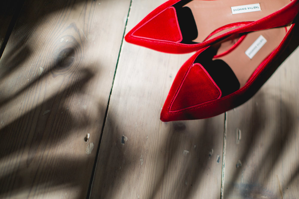 Red shoes with shadow