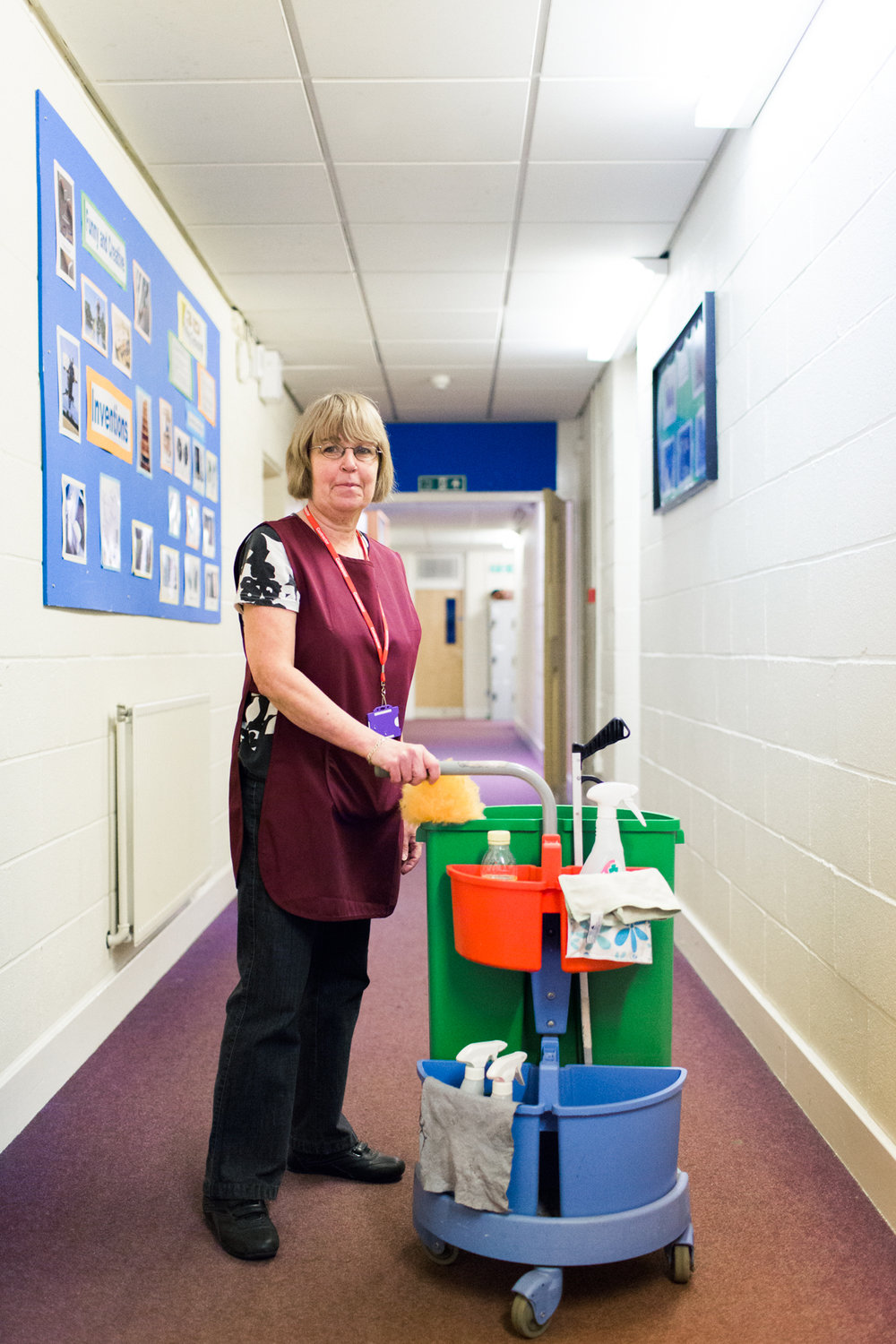 Sue said 'I love my job and being around the place. I like to go back in (to the classrooms) and look at them and think I've done a really good job there'.