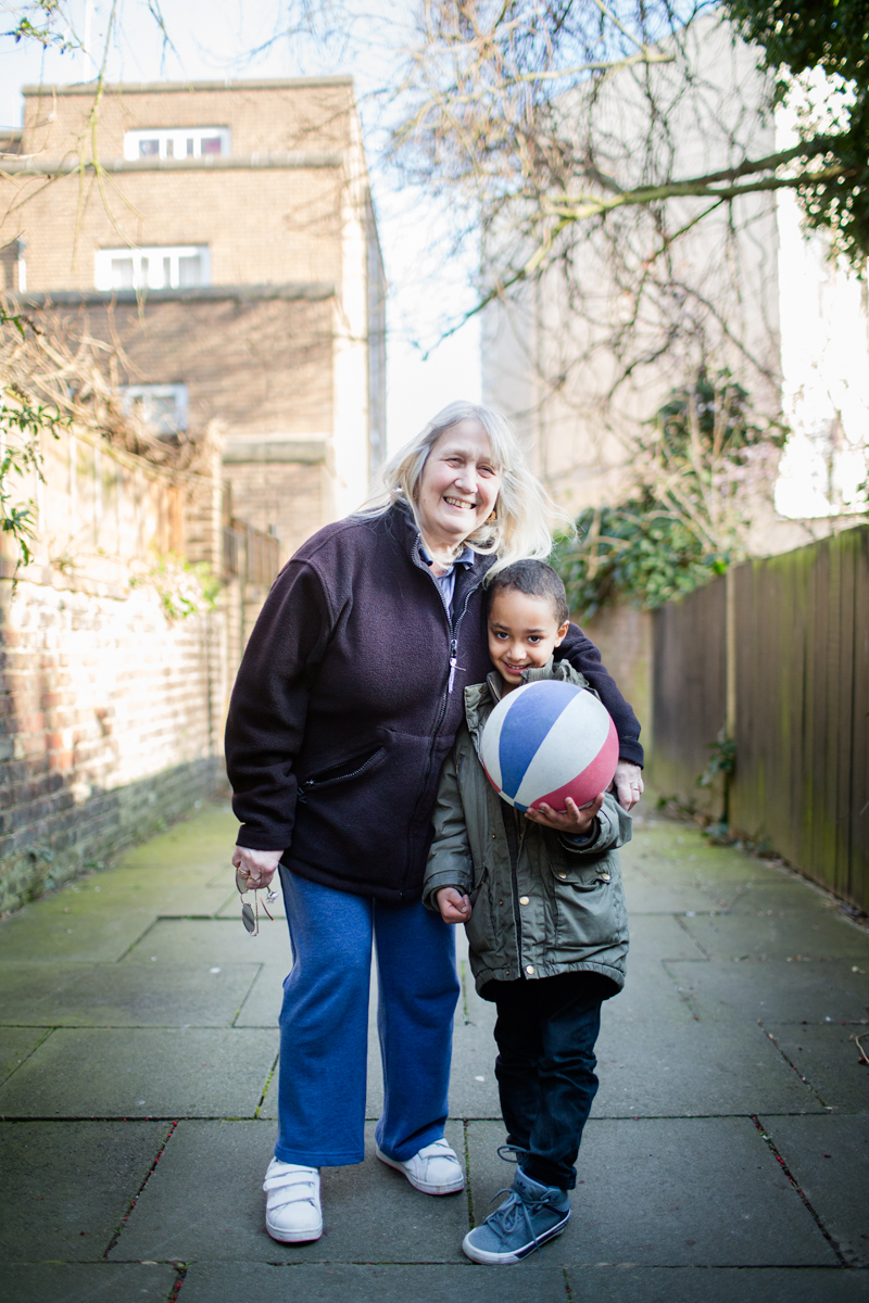 Arsenal were playing and Jaiden and his great grandmother Jackie went up the park to play football because Arsenal is Jaiden's favourite team. When I met them they were on their way back home for tea.