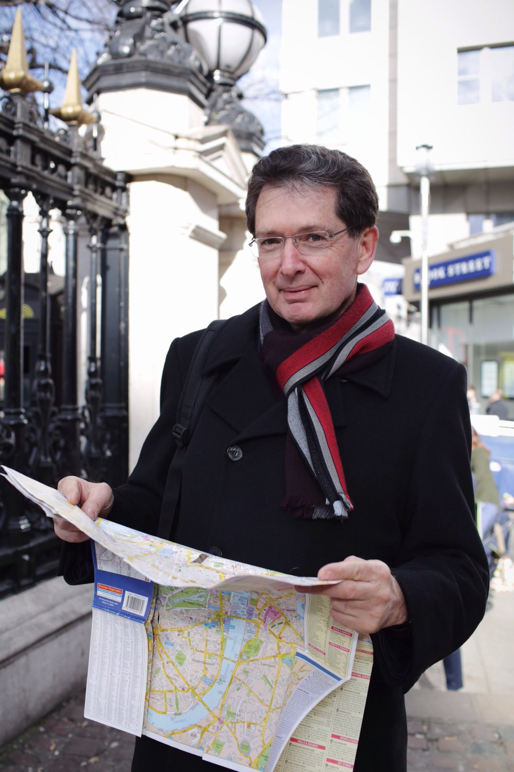 Peter was between meetings, waiting outside Charing Cross Station to meet up with a colleague, and reading his map to pass the time. It was such a sunny day that the idea of a map, with all of the possibility for adventure it contains, intrigued me.