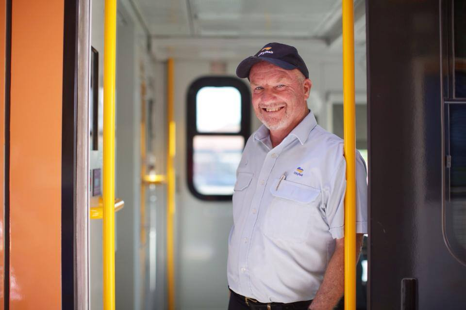 I met Gordon at the end of the line. He's a train Guard.The train was in the station for around 20 mins and Gordon was stretching his legs on the platform before the long journey back to Sydney.