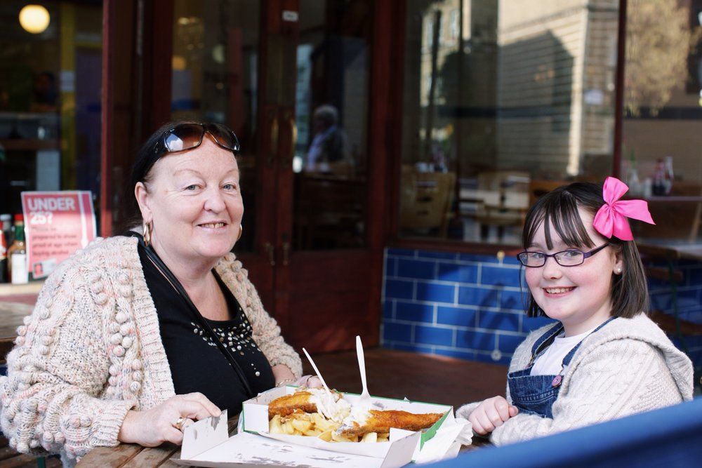 Chelsea and her grandma Rose were eating the most delicious smelling fish 'n' chips. They usually go to the same restaurant every Friday for their dinner.