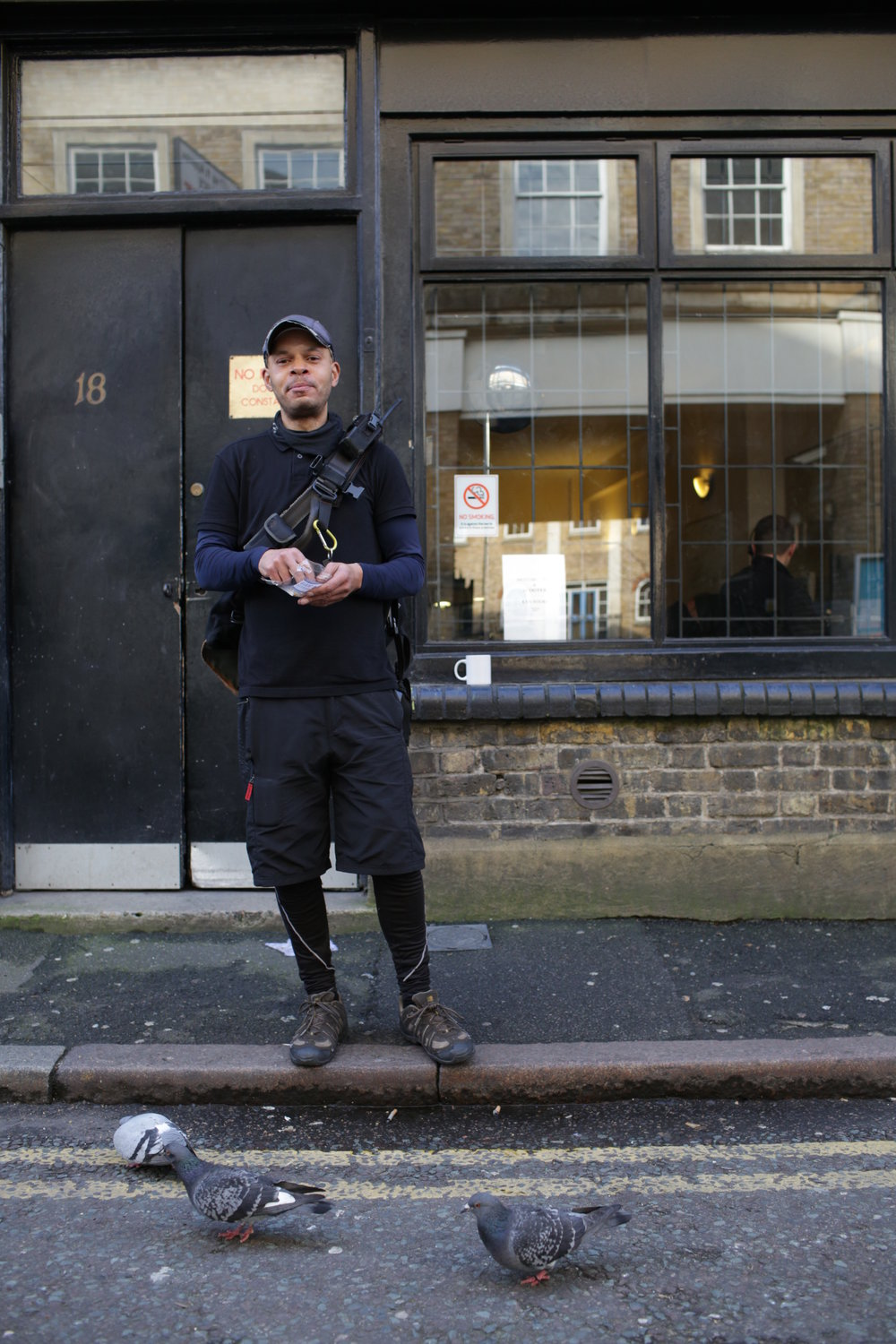 Tim was outside having a snack and tempting the pigeons with dropped crumbs. He's a bike courier and cycles all over Central London doing up to 30 jobs a day. He said car drivers can be dangerous but in his experience other cyclists and pedestrians are the ones to watch out for!