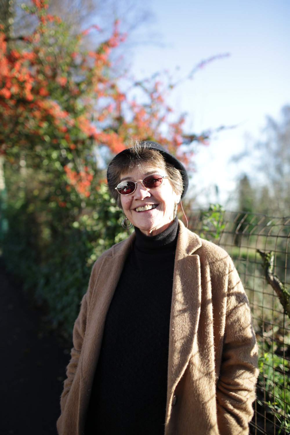 The light is just beautiful today and so is Angie. Such a lovely smile. Angie lives nearby and was out for a wintery walk