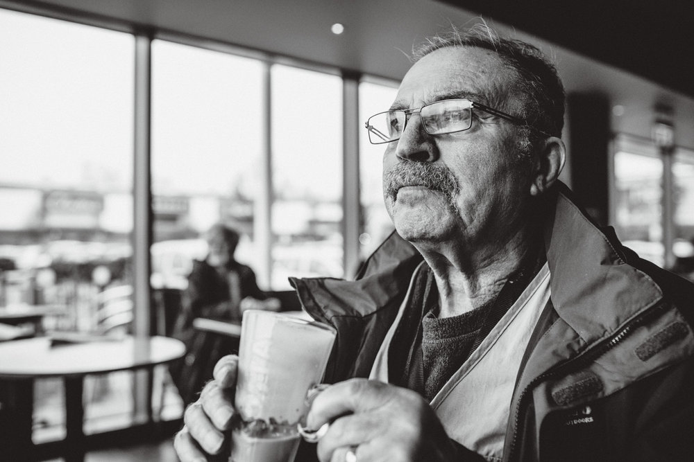 June 2015 Dad loves his coffee. Latte with an extra shot. Now that he has dementia and there's less he's able to do, going for a coffee is a real treat. The process of putting the sugar in the cup takes a long time. A very patient barista warmed up Dad's coffee twice whilst we were there.