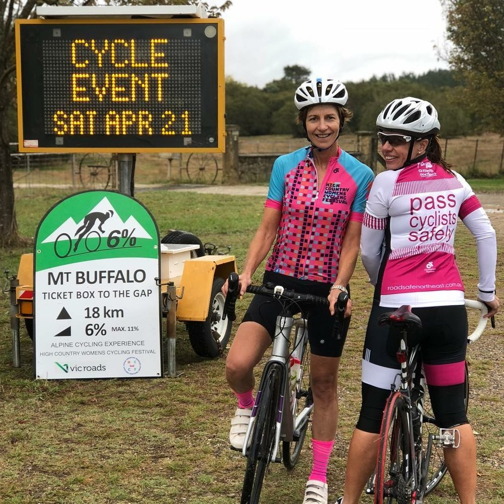 Let's be SAFE - Safety is our first priority. The Ride course from Bright to Mt Buffalo Chalet and return to Porepunkah, is on public roads with reduced speed limits and traffic management safety protocols. All entrants must abide by the road rules and obey police directions. There will be signage along the course to communicate that there is an event in progress.On the ascent and descent, riders are encouraged to single up, to ensure a safe passing distance for other riders and cars.First-time mountain climbers are welcome but this is not a Ride that can cater for beginner level riders. To be safe and enjoy the Ride it is essential that riders have done some hill training, have a good fitness level and are confident with ascending, descending and cornering.There will be a halfway turnaround option at Rollasons Falls Picnic Area, for any rider not able to push all the way to the top. To ensure rider safety and well-being, there will be a cut-off time at Rollasons at 11am. Riders reaching Rollasons after this time, will be asked to turn-around and descend. Any riders arriving at the Chalet after 1.30pm will be assessed by the event marshalls for fitness to descend. Make sure you read our Ride Safe prior to the ride.