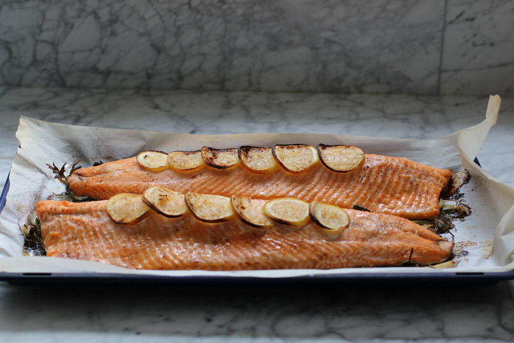 roast salmon ready to serve