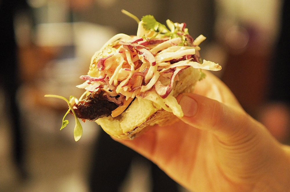 Barbecue Brislet burnt ends in a bun with spicy slaw. Photo Emma Parlons