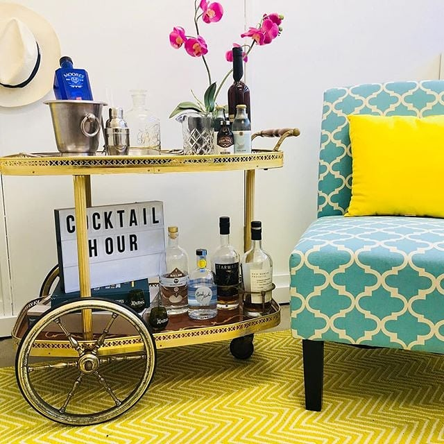 Wheeling in the bar cart for Thirsty Thursday with @cocktailco.au. This blue and yellow decor is most certainly something we can get around 😉 📸 by @cocktailco.au . . . . #cocktails #barcart #drinkcart #homebar #craftspirits #thirstythursday #cocktailhour #drinks #organic #australianmade #vodka #vegan #glutenfree #preservativefree #party #bars #decor #blueandyellow #sydney #sydneybars #melbourne #melbournebars #brisbane #brisbanebars #drinkbettervodka #smallmouthvodka