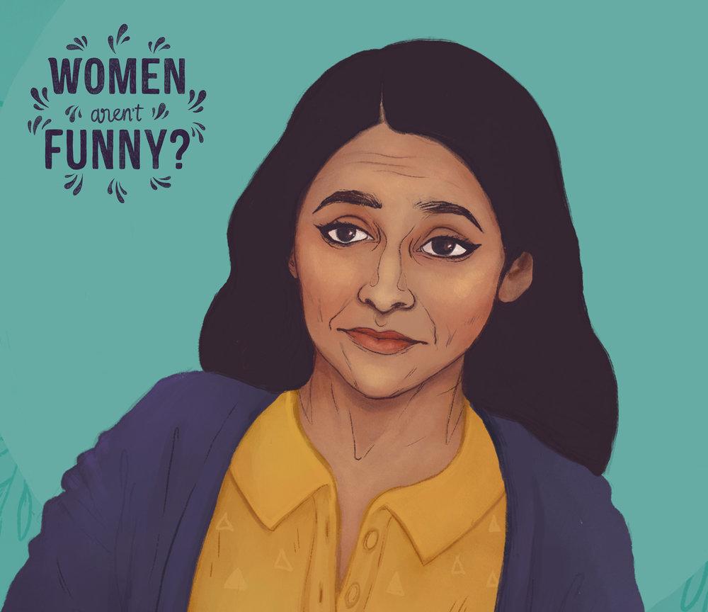 Close-up of my illustration of comedienne Aparna Nancherla (2018)