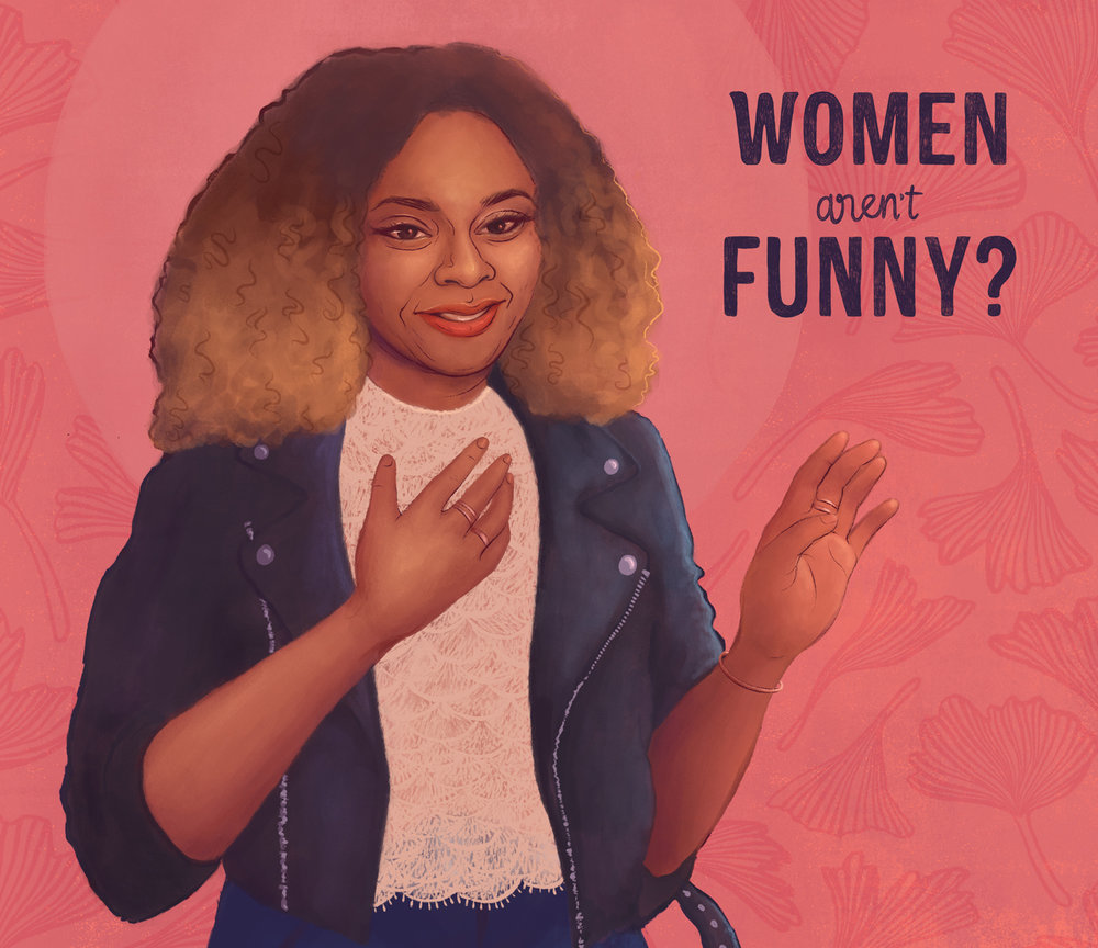 Close-up of my illustration of comedienne Phoebe Robinson (2018)