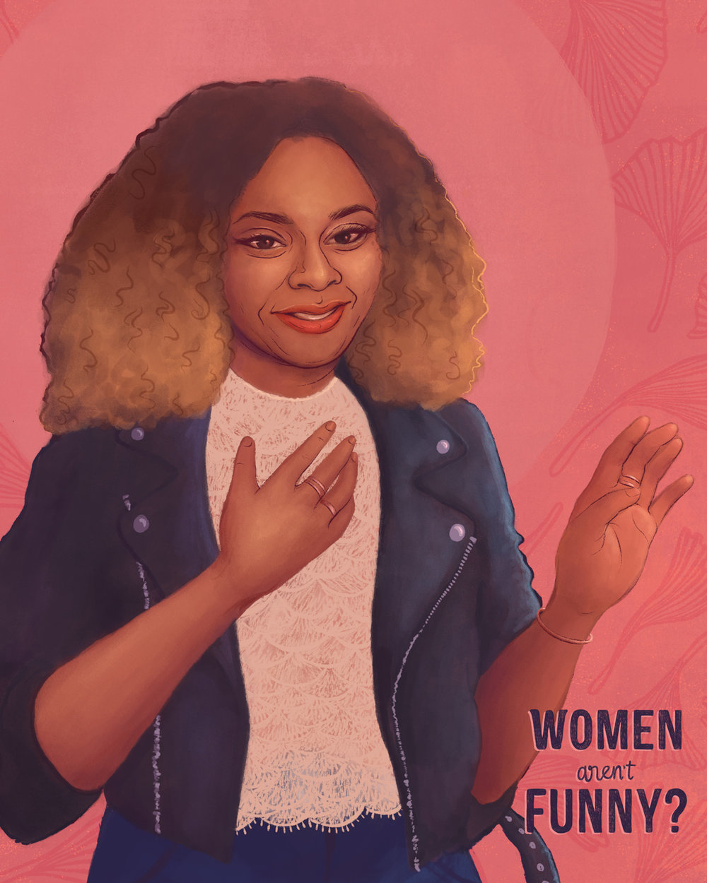 Close up of my digital painting of comedian Phoebe Robinson (2018)
