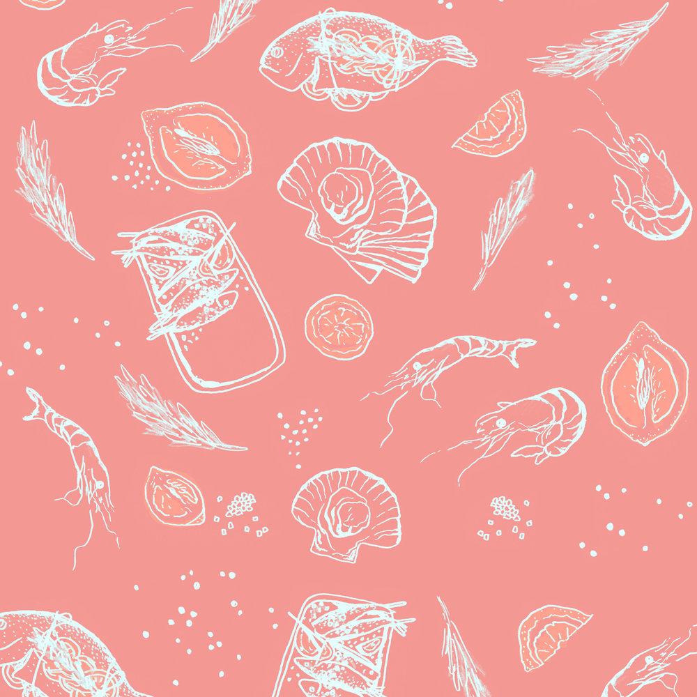 Sea food illustration pattern design in coral