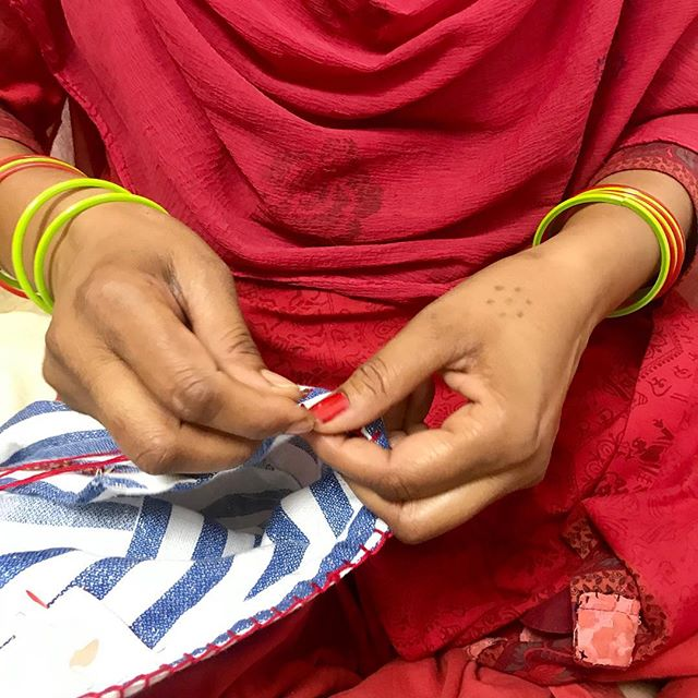 #handinhand  So many hands you need for one piece of cloth - pattern cutting, cutting the fabric , stitching , detail work , checking , ironing & packing - we try all to do our best ♥️