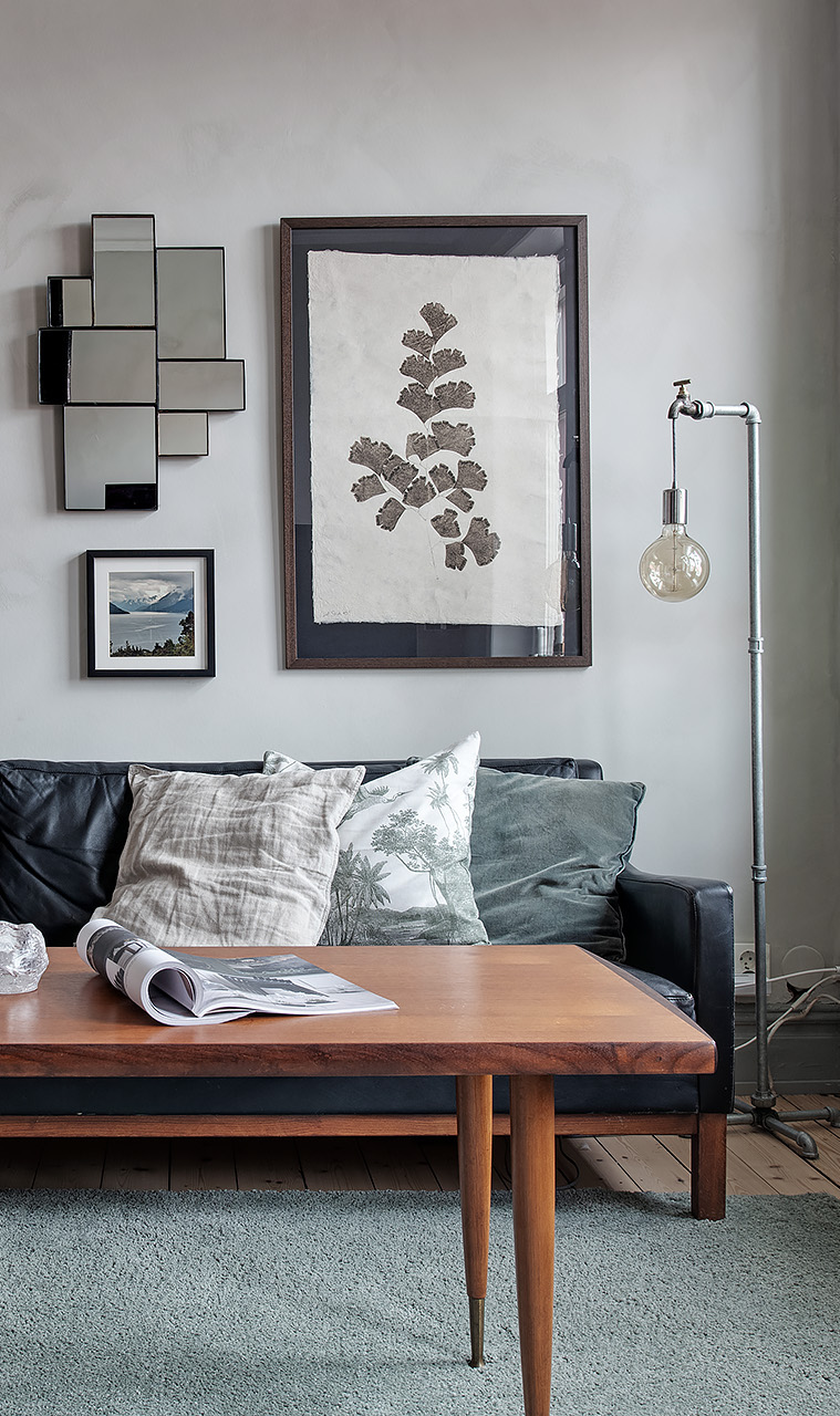 Grey living room with textured walls