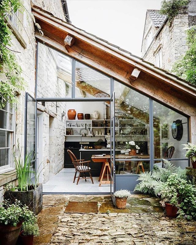 Conservatory goals 🌿 we explored the idea of putting a side extension on our new house but the cost/benefit just wasn't worth it given how little space we'd gain. This shot is of an 18th century weaver's cottage in Wiltshire - serious envy! 📸: @paul_massey, shared by @houseandgardenuk