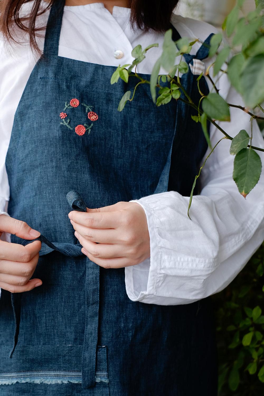 [sold]   Playful apron No.4/ $25   Material: Linen  Colour: Dark teal blue  Hand wash for best result