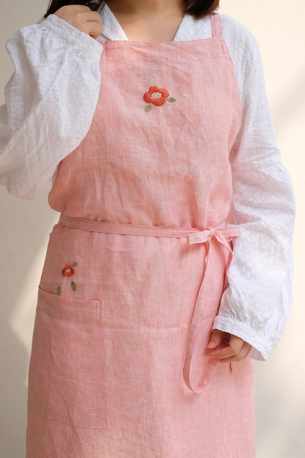 $23.5   Material: Linen / Colour: Pastel coral pink  Hand wash for best result