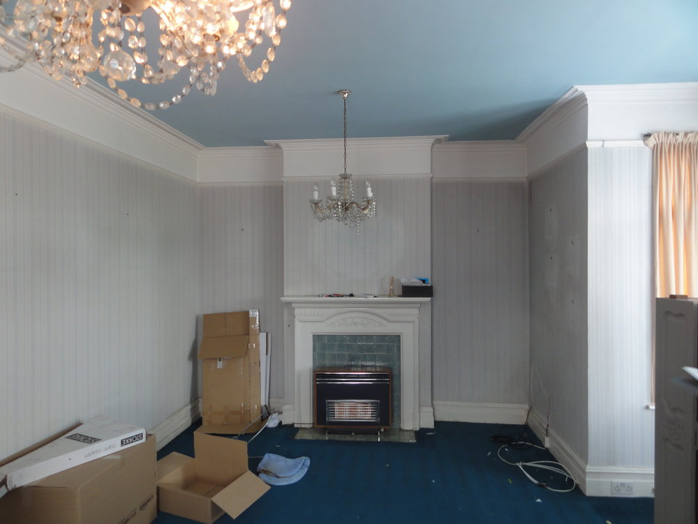 The front lounge on moving in day