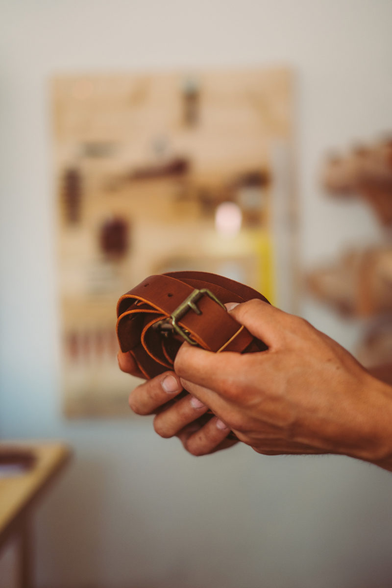 Handcrafted leather strap in eco-friendly workshop