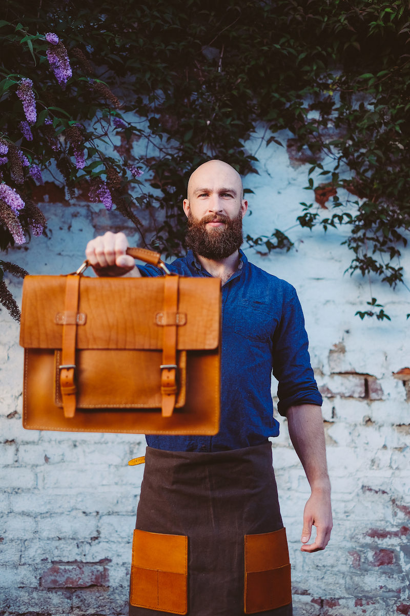 Craftsman and handmade leather messenger bag