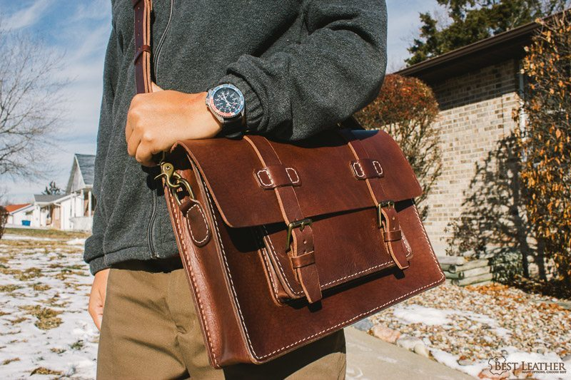 Saddle stitched leather briefcase