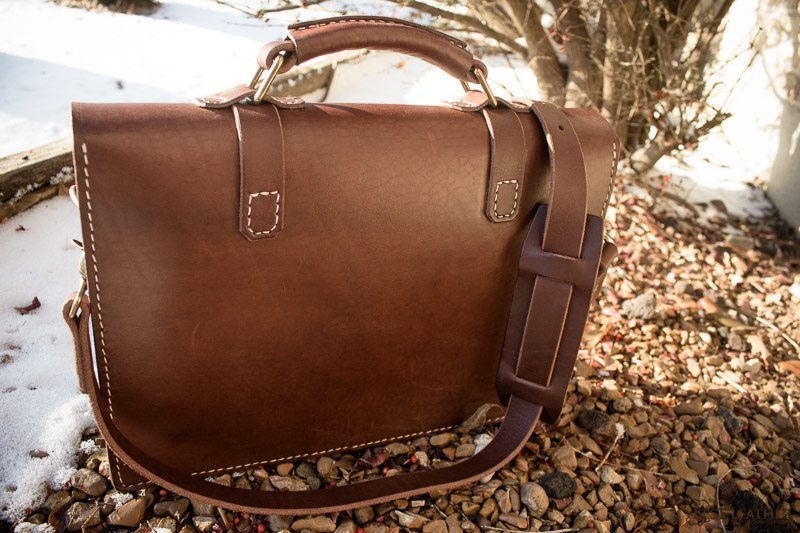 Handmade leather messenger bag with adjustable shoulder strap