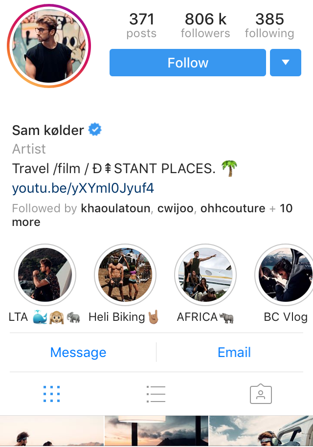 Sam Kolder Instagram Influencer profile