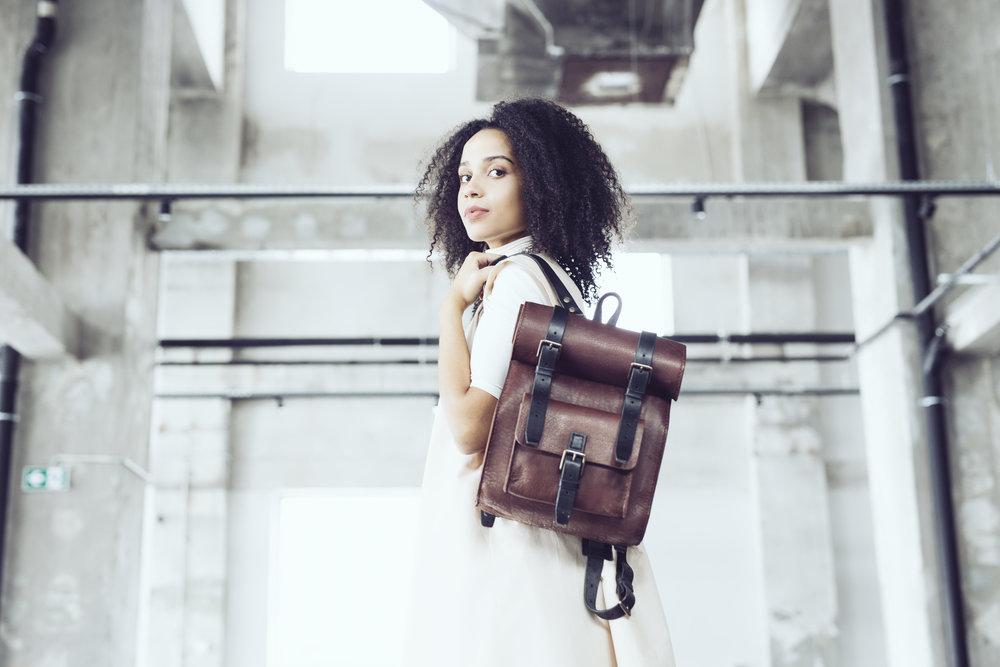 Luxury leather rucksack