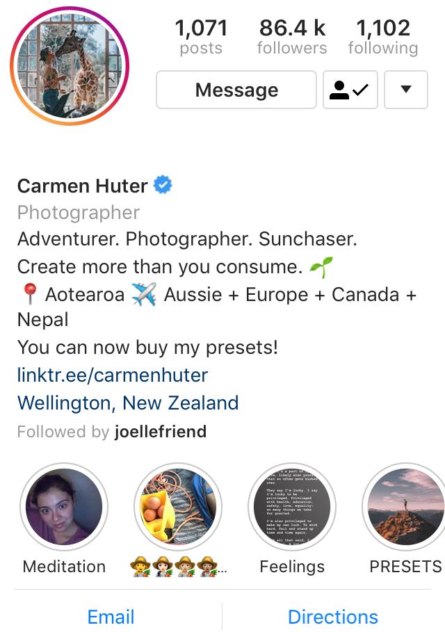 New Zealand influencer Carmen Huter