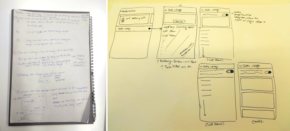 Data plan feature old flow mapping and low fidelity wireframes