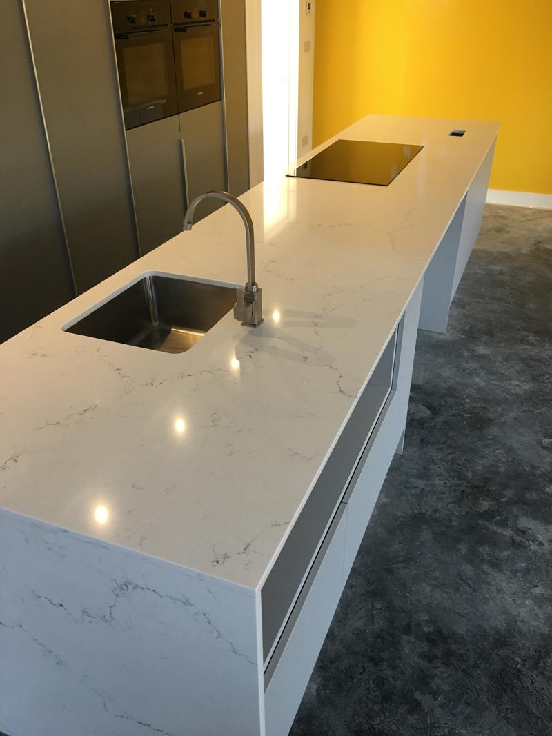 quartz worktop with full downstand