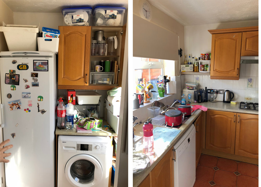 Before: a dated and cluttered kitchen.