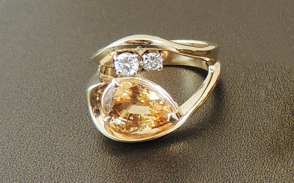 Hessonite Garnet Ring- Before