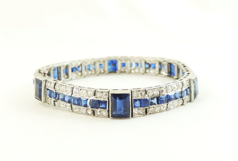 Heirloom Platinum Sapphire & Diamond Bracelet- Before