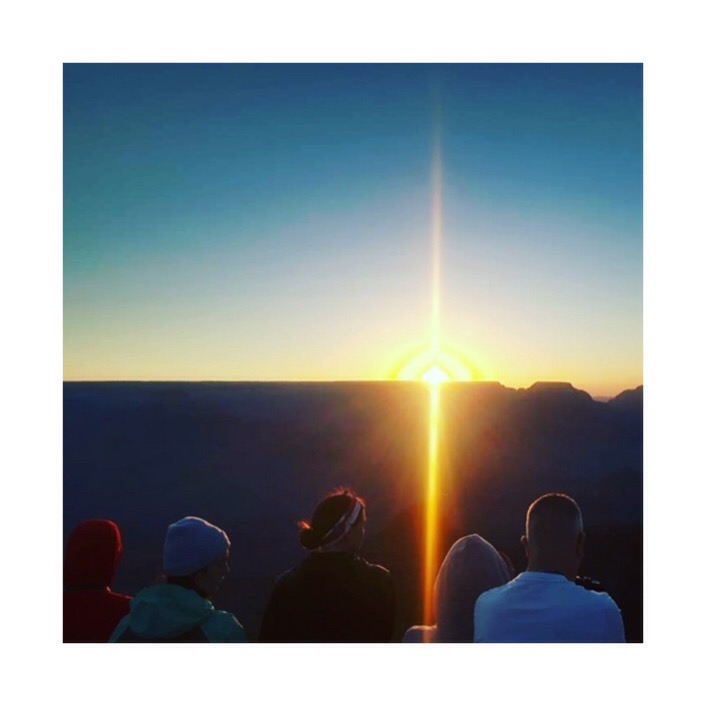 Sunrise over the Grand Canyon. Your humble author in baby blue beanie, not for long though.