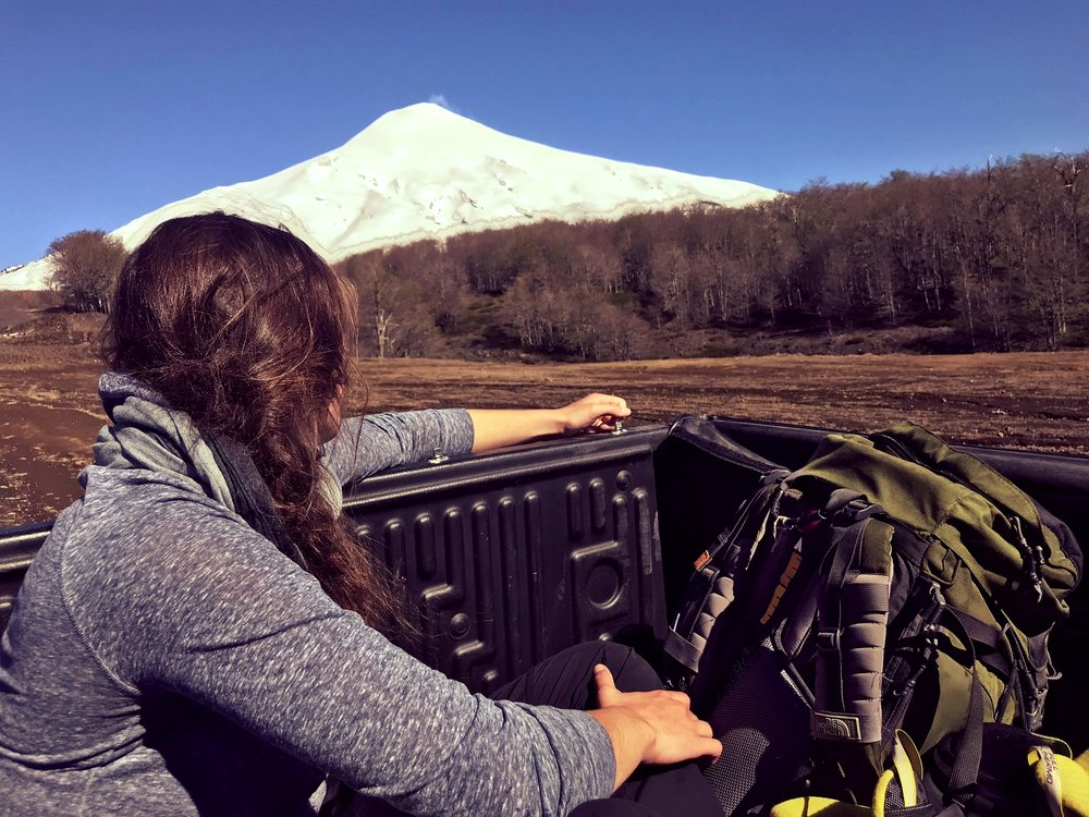 Reflecting on a day of skiing the active Villarrica Volcano this past October while hitching a ride back to Pucón, Chile.