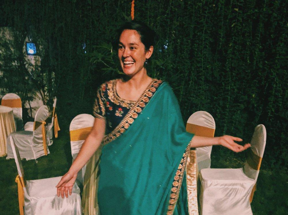 Alison embracing the culture in Mumbai, Maharashtra, India