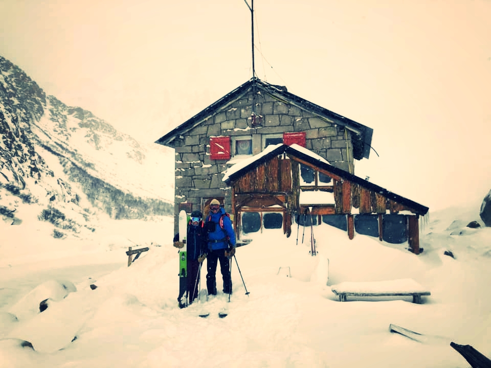 Corey with his sister Kayla outside Refugio Frey after enduring a four day blizzard in Patagonia Argentina—