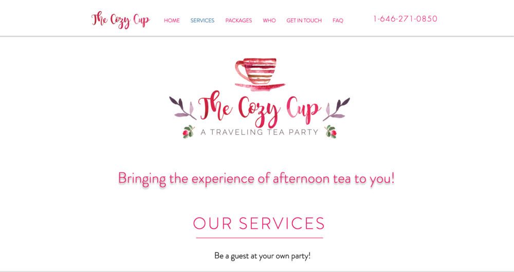 A new business - The Cozy Cup needed an online presence to offer services and book events.