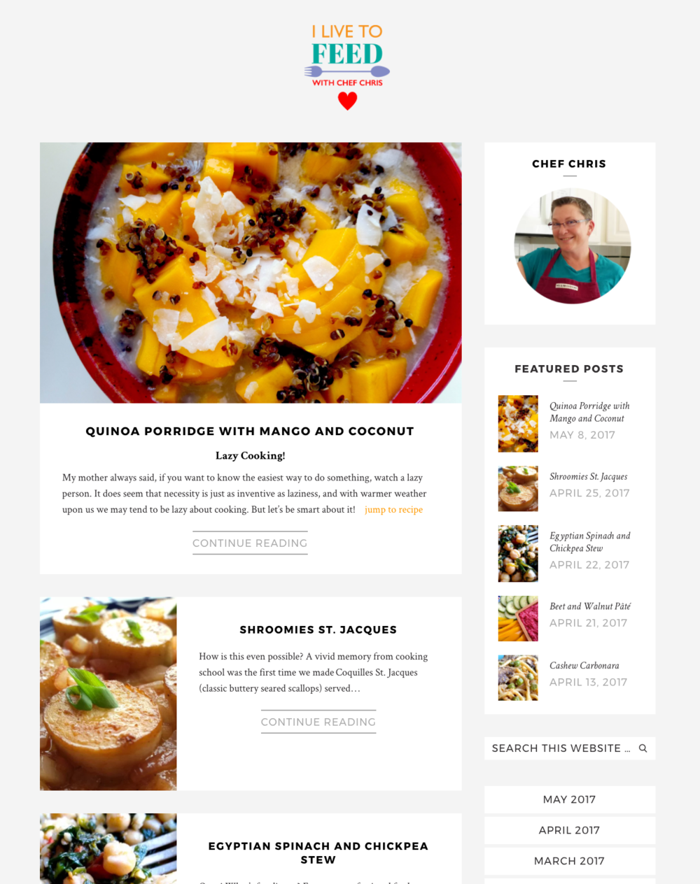 A new look for a food blog - Chef Chris asked for style and functionality for her blog. The new site has an easy-to-search archive, downloadable recipes and integrated Instagram posts.