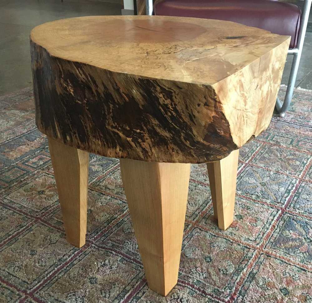 Workshop 4814 - Another beautiful piece of furniture from Workshop. Artist Carlos Lemos created this one-of-a-kind side table from Maple found in his backyard. For the lover of good quality craftsmanship. $450