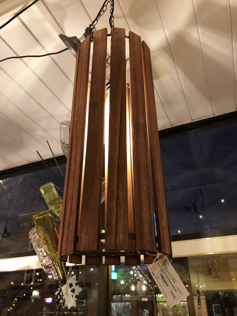 Tanglewood Works - Wouldn't this look great in your hallway or above that holiday table? Head over to Tanglewood and grab it before we do! Kah slatted wood pendant light. $110